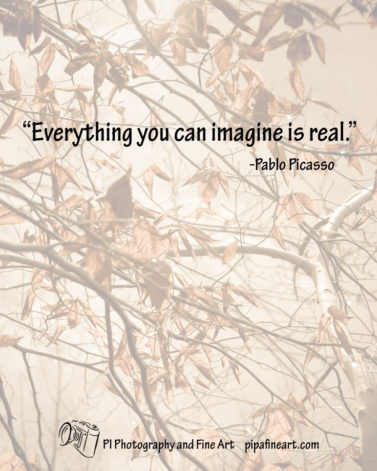 """Everything you can imagine is real."" from Pablo Picasso.   If you would like to download any of the previous Quotes of the Day that we have shared please visit: pipafineart.com"