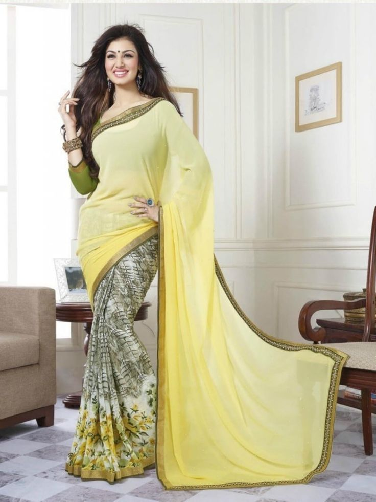 Light Yellow color georgette Printed Saree- Indiana Lifestyle Online Shopping