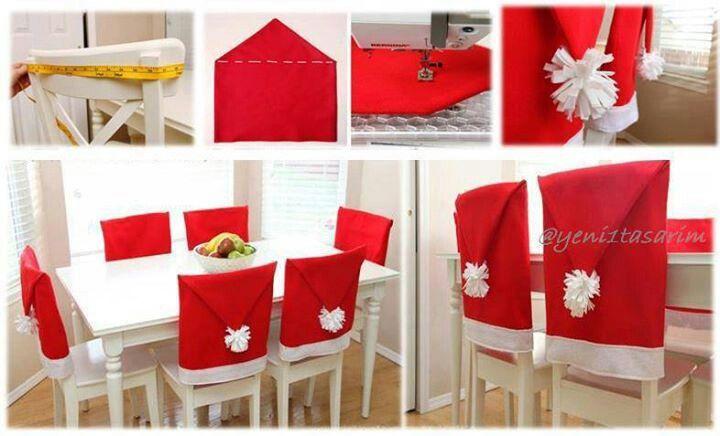 DIY decorar las sillas de la mesa con gorros de Papá Noel.