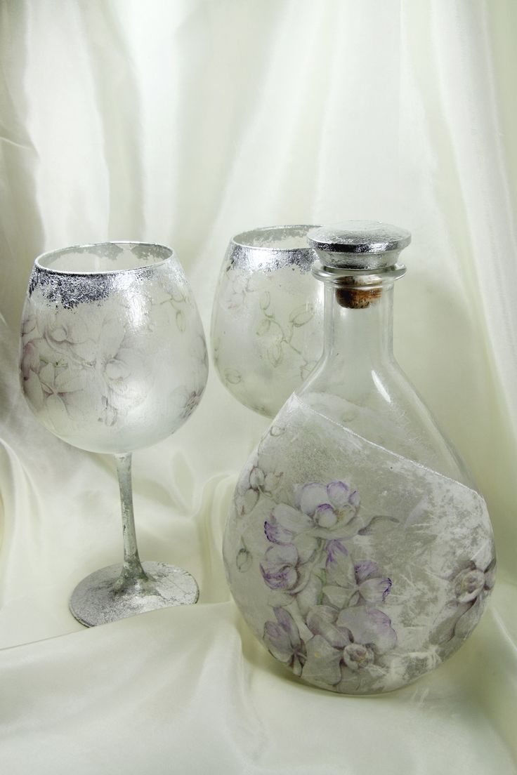over glass decoration with decoupage