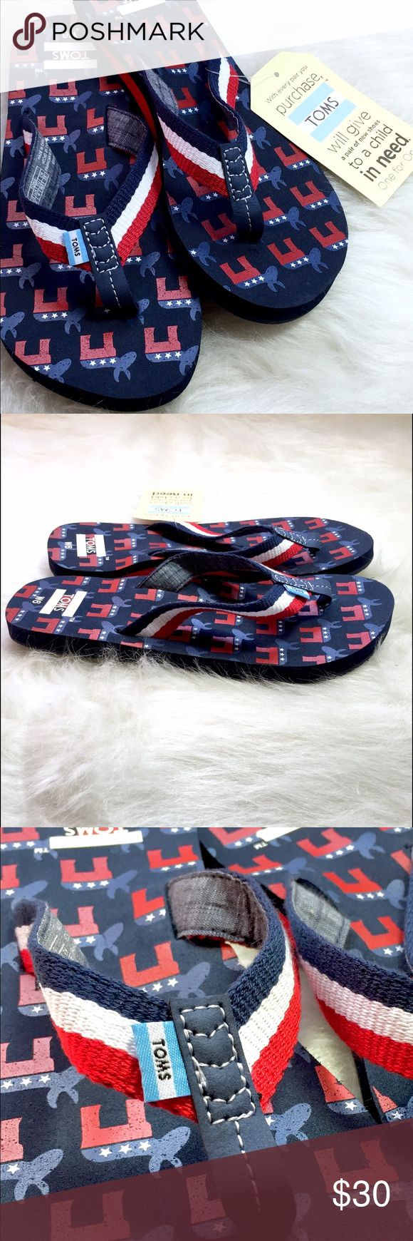 🇺🇸 TOMS DEMOCRATIC DONKEY flip flops / sandals! HURRY & GRAB FOR NOV 8th! Stroll into the poles with these easy-breezy TOMS Election Day flip flops. No need to be dressed to the Nine's to exercise your rights. Feel confident as these USA red, white and blue kicks exude pride and freedom. (And you'll be one step ahead for those July 4th pool party barbecues.) Wear with anything. I mean ANYTHING! Whatever gets you to the polls, Poshers! Regardless of party... VOTE, VOTE, VOTE! Flaunt that…
