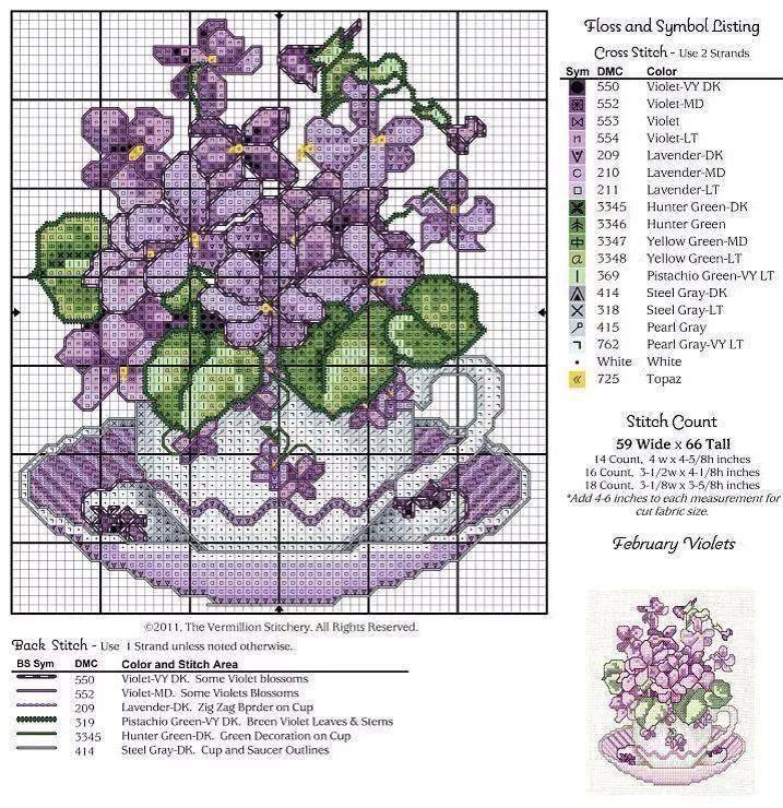 Cross Stitch violets in purple tea cup