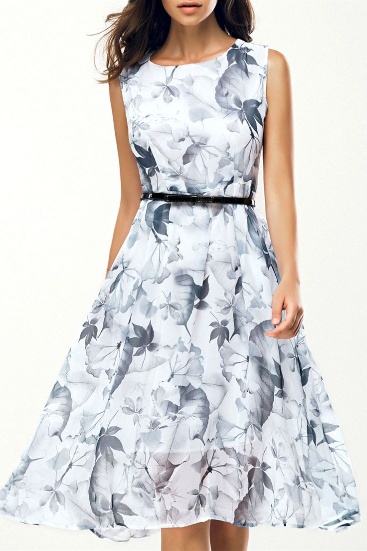 $18.45 Elegant Jewel Neck Sleeveless Floral Belted Dress For Women