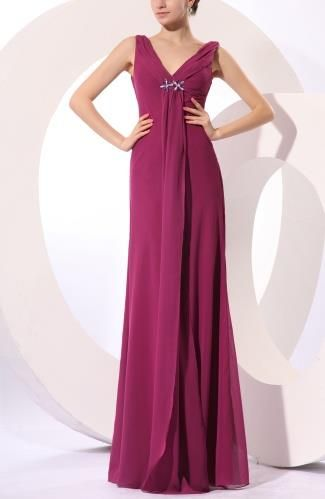 V-Neck Elegant Evening Gown - Order Link: http://www.theweddingdresses.com/v-neck-elegant-evening-gown-twdn6993.html - Embellishments: Pleated , Rhinestone , Ruching; Length: Floor Length; Fabric: Chiffon; Waist: Natural - Price: 127.79USD