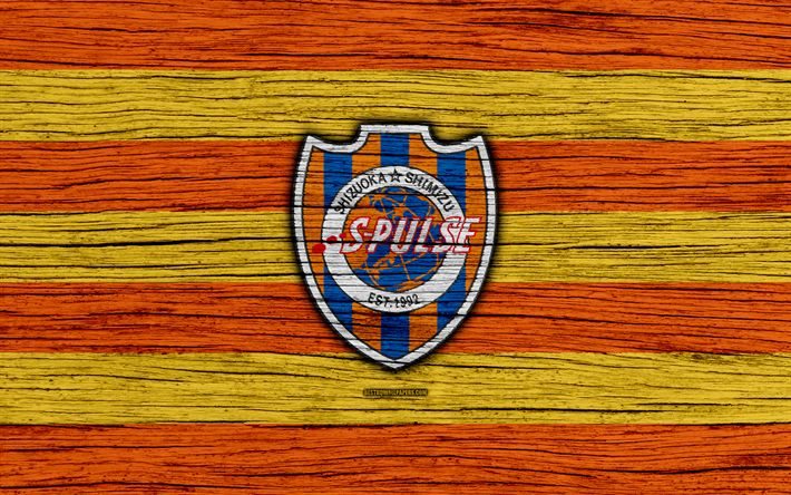 Download wallpapers Shimizu S-Pulse, 4k, emblem, J-League, wooden texture, Japan, Shimizu S-Pulse FC, soccer, football club, logo, FC Shimizu S-Pulse
