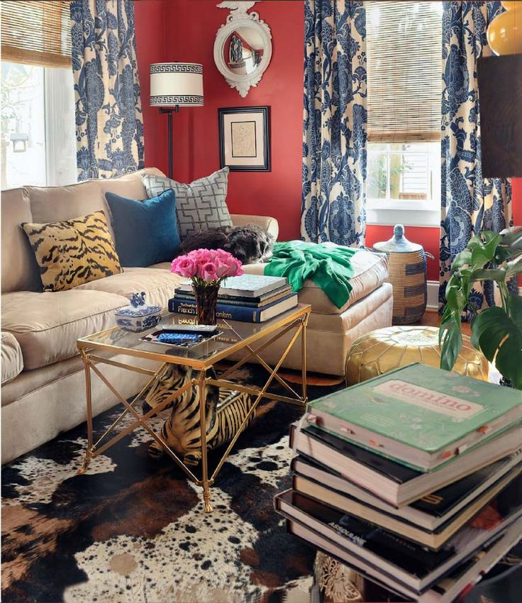 bold living room in red white and