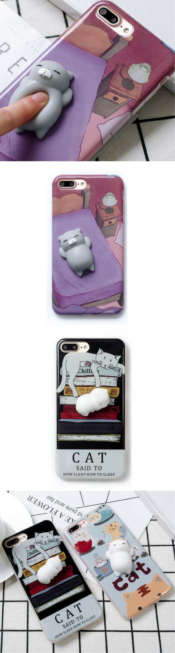 GET YOUR 3D Cartoon Cute Soft Silicone Squishy Squishy Cat Cover Case for iPhone 6, 6S ,7 Plus Phone Cases for 60% off NOW