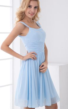 A-line Light Sky Blue Chiffon Short Wedding Bridesmaid Dress  off to the honeymoon dress