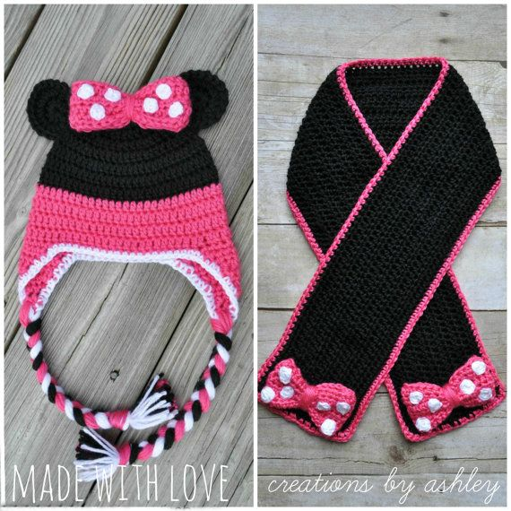 Crochet Minnie Mouse Hat and Scarf girl baby by MadeWithLoveCba, $52.00