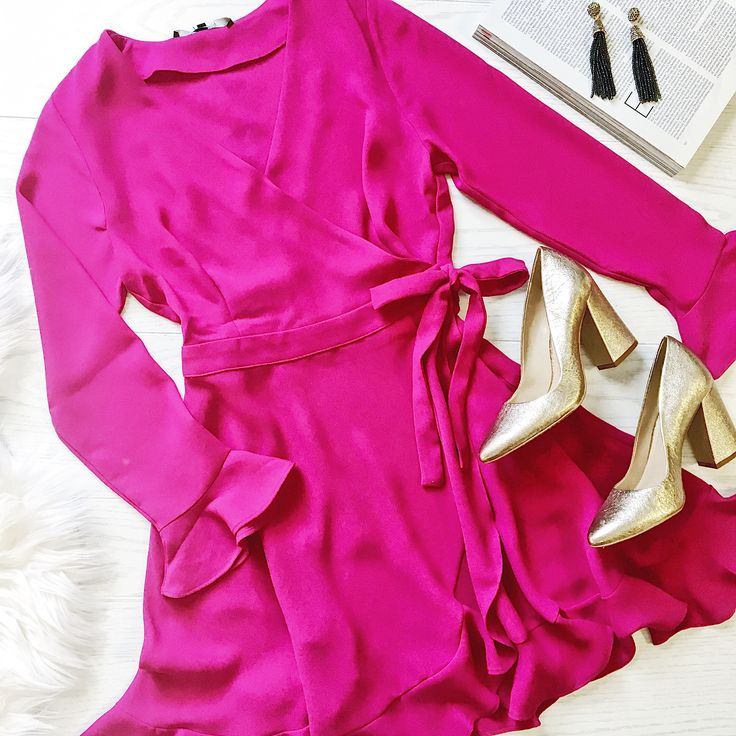magenta wrap dress outfit! fall and winter events outfit! fall wedding guest dress.