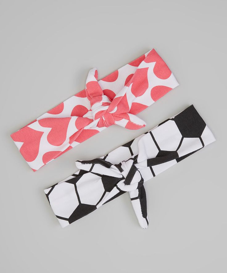 This Bubbly Bows Pink Heart & Black Soccer Headband Set by Bubbly Bows is perfect! #zulilyfinds