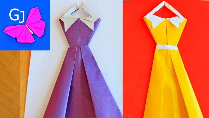 Оригами открытка - платье
