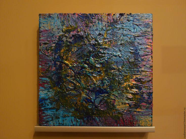 Купить 18 апреля 2017. Абстракция на холсте. 20/20/2 см - синий, абстракция на холсте