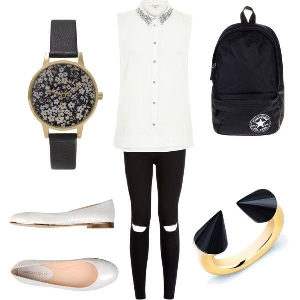 schoop outfit #10 by paty-porutiu on Polyvore featuring polyvore fashion style River Island Carlo Pazolini Converse Vita Fede Olivia Burton