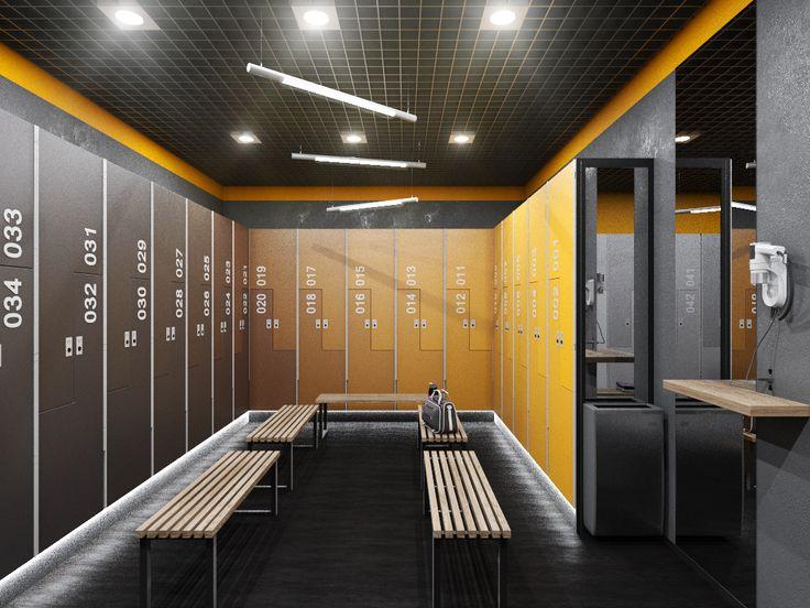 Интерьер раздевалки в нежилом помещении (тренажерном зале). Gym, fight club.