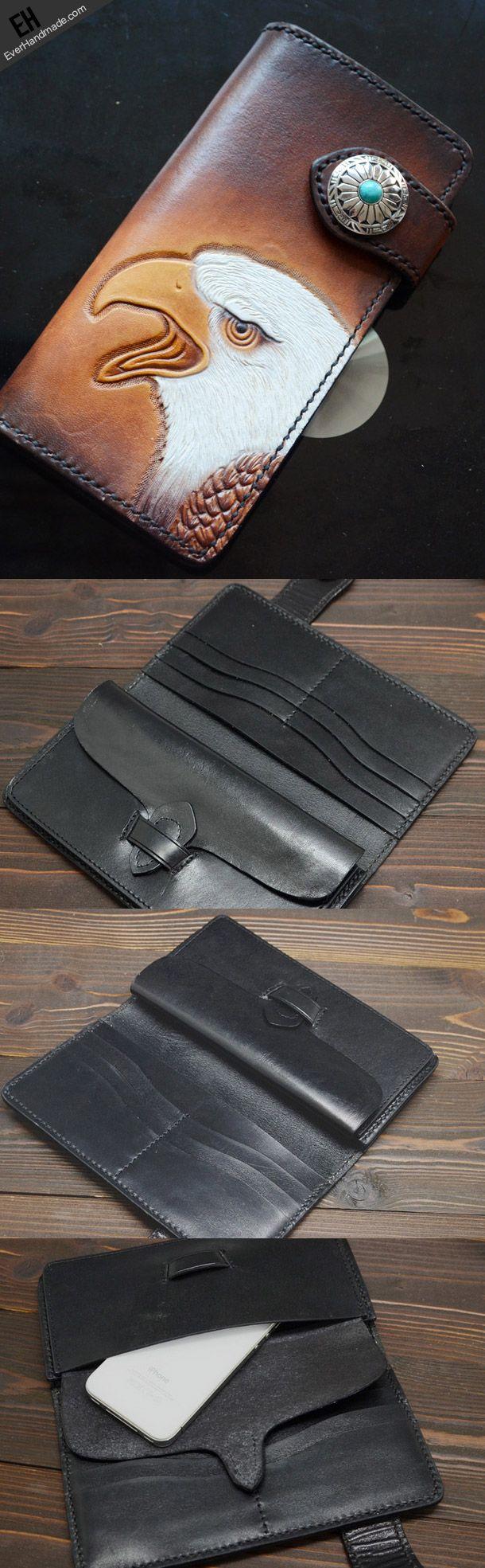Handmade dark brown black eagle carved leather biker wallet bifold pho | EverHandmade