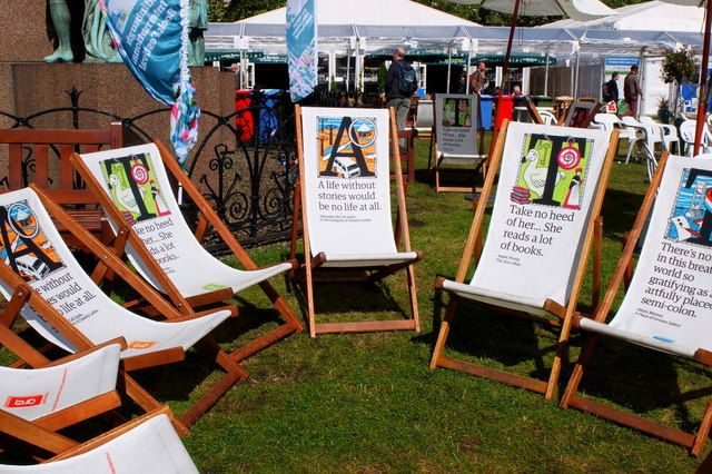 Would be lovely for my backyard! Readers' deckchairs, Edinburgh Book Festival.  Deckchairs decorated with quotations from novelists Jasper Fforde, Hilary Mantel and Alexander McCall Smith in the open space below Prince Albert's statue, Charlotte Square.