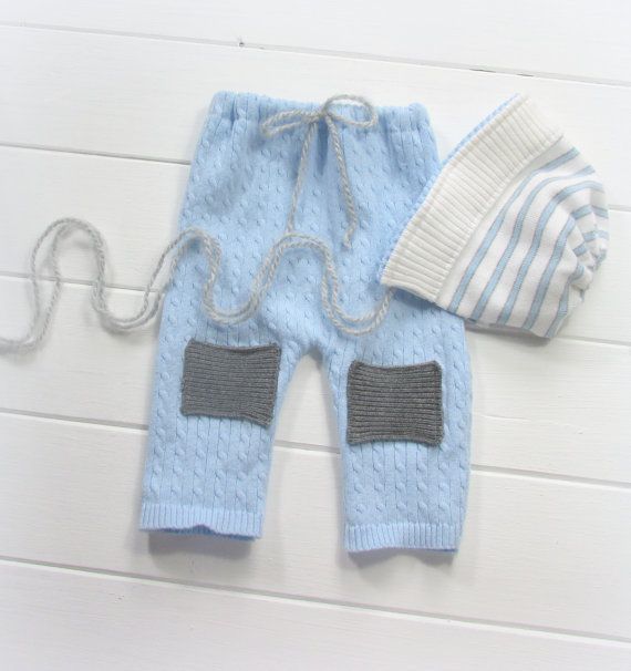 Boys prop baby blue and gray hat and pants newborn photography set, upcycled boys props, photo props