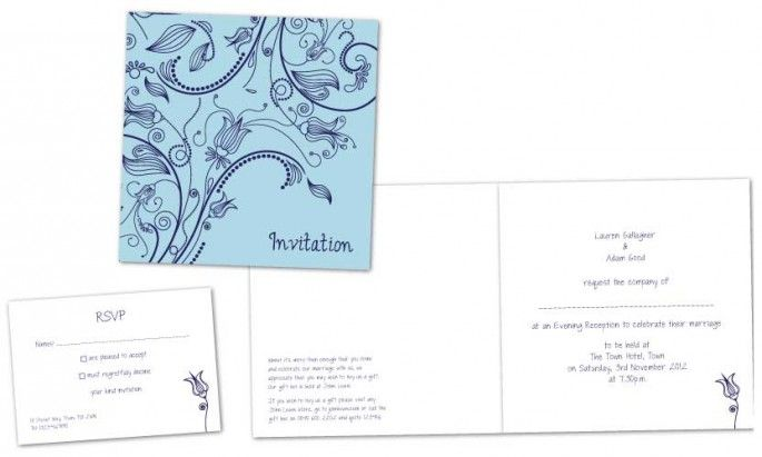 Navy/blue floral style wedding evening invites