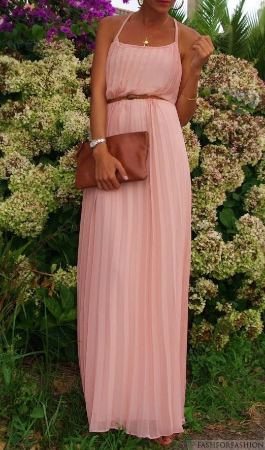 Belted Blush Maxi