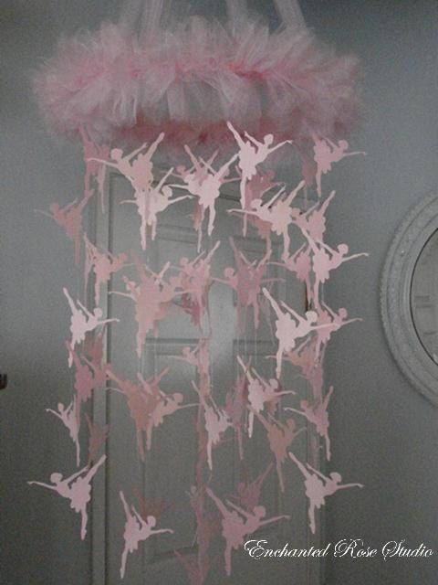 Rosa Ballerina Mobile Papier Kronleuchter von EnchantedRoseStudio