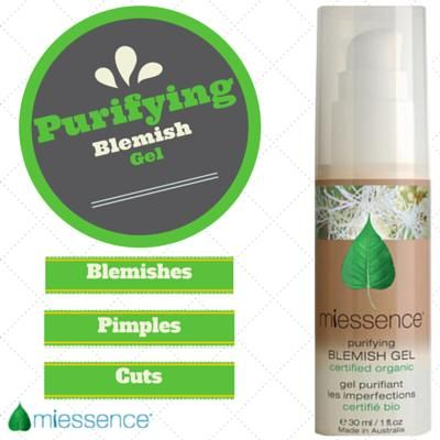Miessence Certified Organic Purifying Blemish Gel, with lavender, lemon myrtle, tea tree, thyme, plantain & echinaecea.