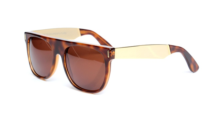 These Havana Flat Top sunglasses in tortoiseshell from Super Sunglasses are classic looking.
