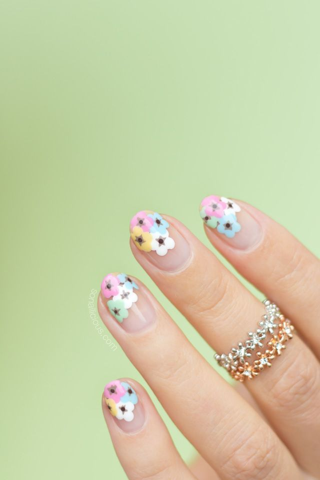 cool Negative Space Floral Nail Art 197