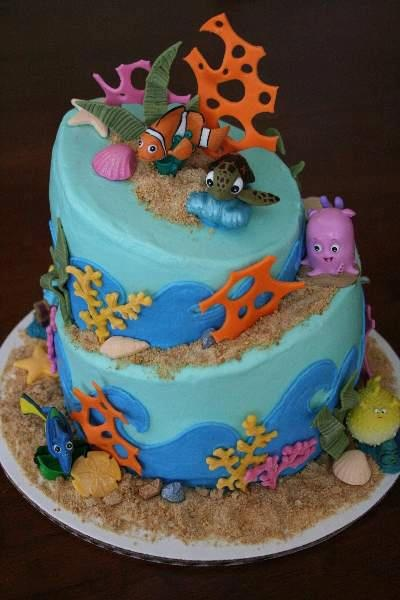 Undersea Ocean or #Nemo party theme #birthday cake Amazing! you could even add a  few Guylian Belgian #Chocolates to decorate edge of cake.
