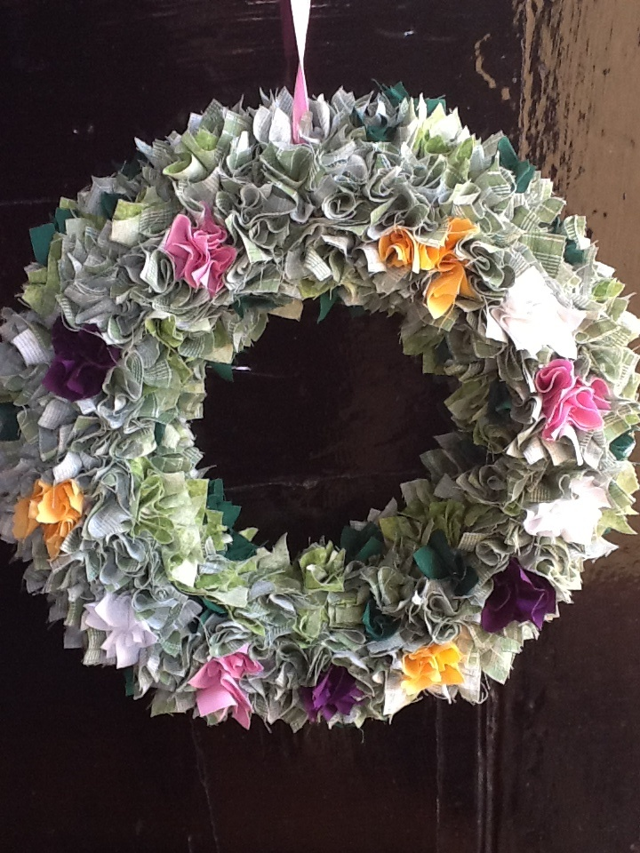 Wreath made from fabric scraps