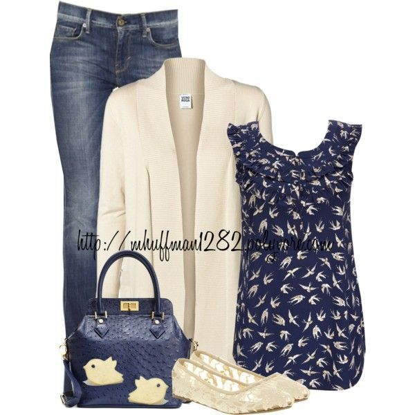 Blue and Beige by mhuffman1282 on Polyvore featuring Vero Moda, Wallis, 7 For All Mankind, Office and Brooks Brothers