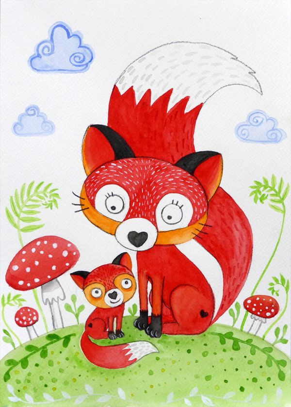 """Mama Fox"" / ""Mama Fuchs"" #Illustration #watercolor #Aquarell #Fuchs #fox"