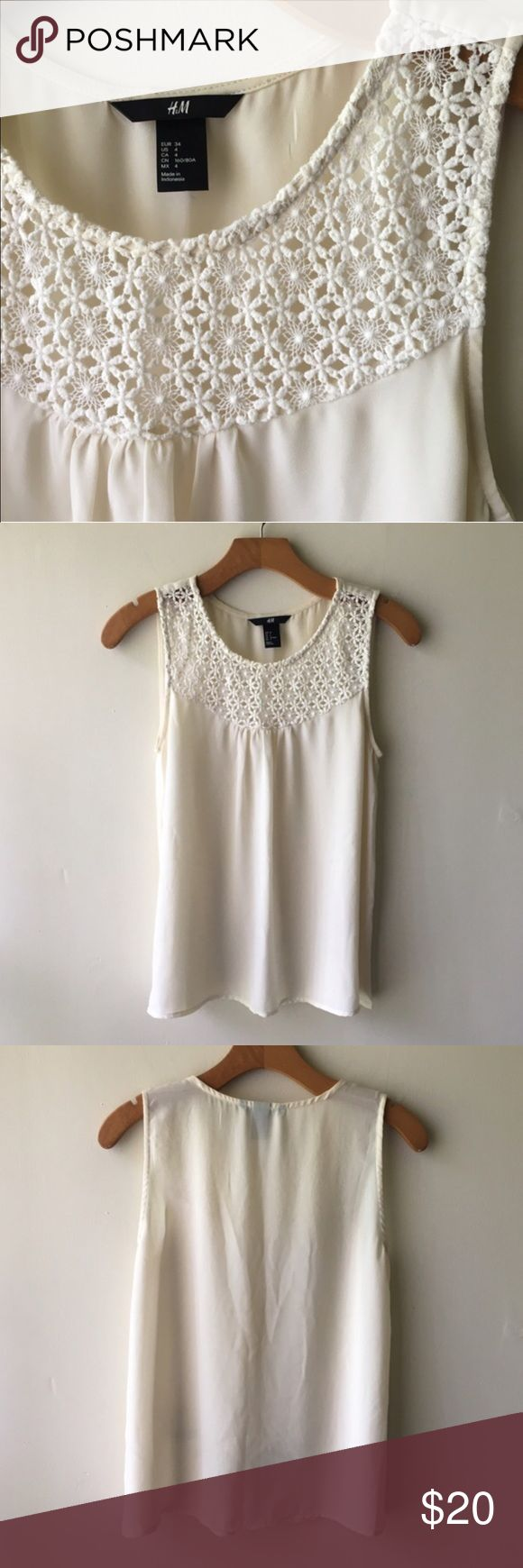 Beautiful Crochet Sleeveless Blouse So flattering... such a great piece. Offer and bundle  H&M Tops Blouses