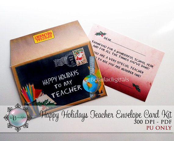 Happy Holidays for Teacher Envelope & Card Kit  by Beauladigitals