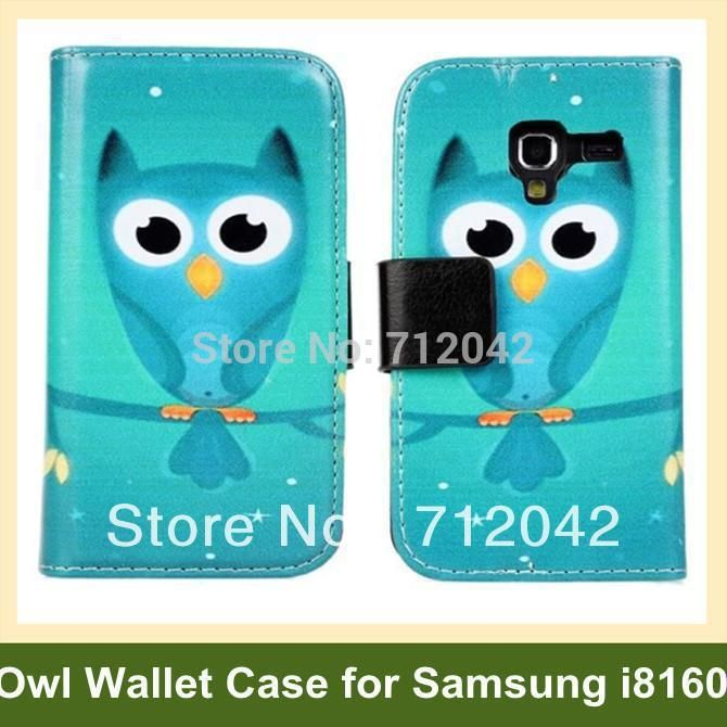 New PU Leather Owl Pattern Case for Samsung Galaxy Ace 2 Wallet Flip Cover Case for Galaxy Ace 2 i8160 Free Shipping