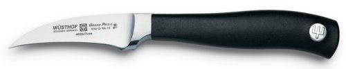 """Wüsthof Grand Prix II Peeling Knife by Wusthof-Trident Cutlery Co.. $44.95. X50Crmov15 Steel. 2.5"""" Blade. The short, curved blade, often called a bird's beak, is the best choice for peeling small fruits and vegetables, and for pitting apricots or avocados.About Wusthof Grand Prix II:Redesigned with a sleek new profile that trims the bolster to expose the full blade edge for optimum performance, maximum sharpening.• Precision-forged blades of Wusthof's own high-c..."""