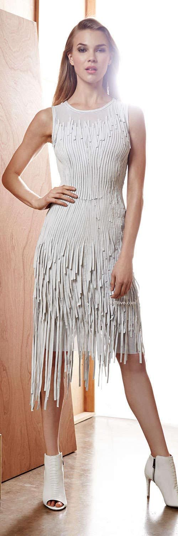 Elie Tahari Milan Leather Fringe Dress
