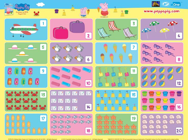 Peppa Pig Sunny Vacation Counting Activity Page