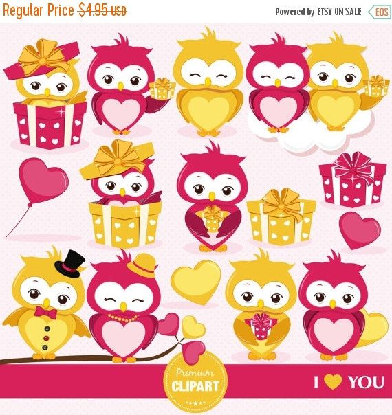 80% OFF SALE Valentines owls clipart, Valentine day clipart, Valentine, Love birds, Bird clipart, Love birds clipart - CA342 by PremiumClipart on Etsy