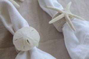 DIY craft Napkin Rings (maybe paint the sand dollar and starfish with silver metallic paint...