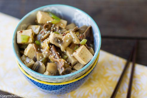 Spicy sauteed tofu with wild mushrooms and a ginger-garlic sauce [Veg ...