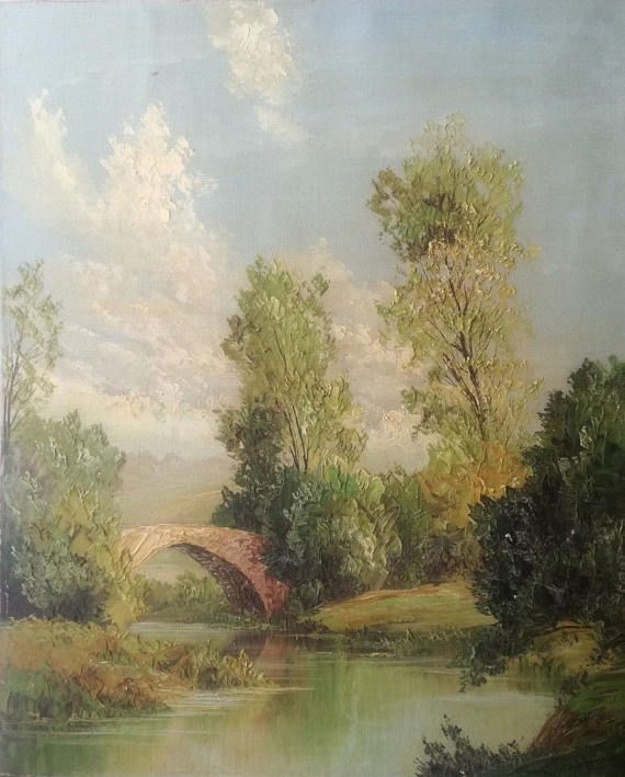 Check out this item in my Etsy shop https://www.etsy.com/listing/525145421/antique-landscape-oil-painting-on-canvas