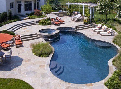 133 best pools images on pinterest - Inground Pool Patio Designs