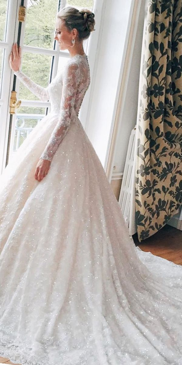 lace bodice high neck ball gown wedding dresses with long sleeves