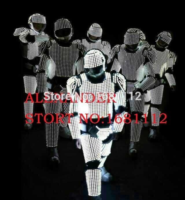 WHITE LED Costume /LED Clothing/Light suits/ LED Robot suits/  white  robot