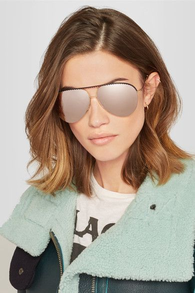 Victoria Beckham | Aviator-style gold-tone and perforated leather mirrored sunglasses | NET-A-PORTER.COM
