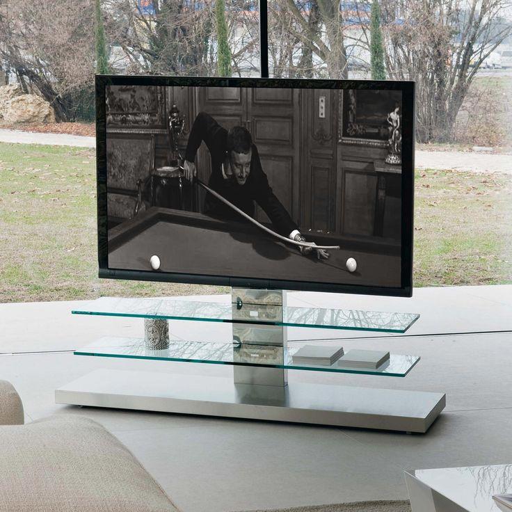 TV stand in stainless steel and glass mod. Panorama, Cattelan. // Soporte de la TV en acero inoxidable y vidrio mod. Panorama, Cattelan. // Porta tv in acciaio inox e cristallo mod. Panorama, Cattelan. #tvstand #soportedelatv #portatv #steel #acero #acciaio #crystal #cristal #cristallo #cattelan
