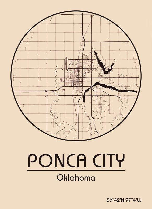 Karte / Map ~ Ponca City, Oklahoma - Vereinigte Staaten von Amerika / United States of America / USA