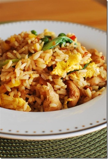 Chicken fried rice  Swap the sesame oil for Fry light and swap the oyster sauce for soy sauce to make this meal SYN FREE