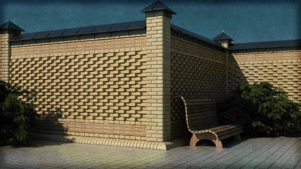 Сплошной забор из кирпича с фигурной кладкой